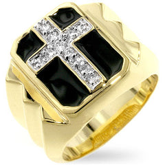 Gemini Cross - 14K Gold With Black Enamel and CZ