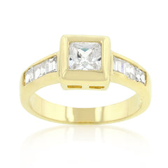 Simple Golden Square Bezel CZ Ring