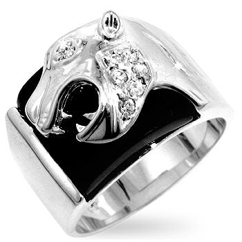 Onyx Puma on White Gold Ring