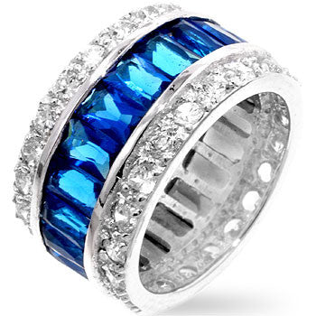 Triple Row Blue Eternity Band