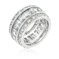 Triple Row White Sterling Silver Eternity Band