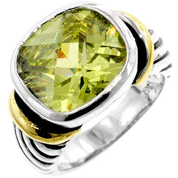 Peridot Tutone Cable Ring