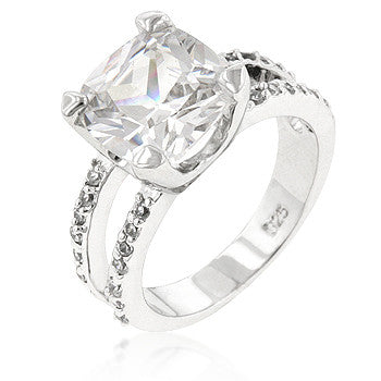 Double Band CZ Engagement Ring