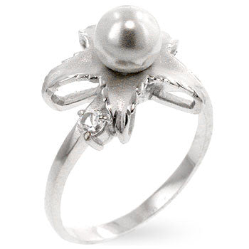 Floral Pearl Sterling Silver Ring