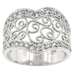 CZ Filigree Hearts Ring