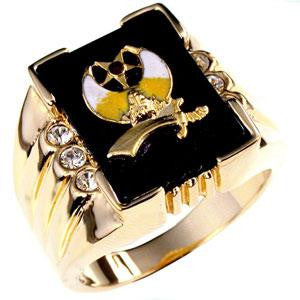 3 Stone Shriners Mens Ring