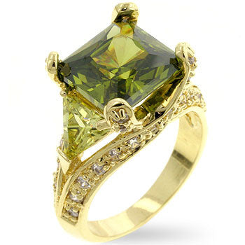 Olive CZ Cocktail Ring