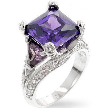 Purple CZ Cocktail Ring