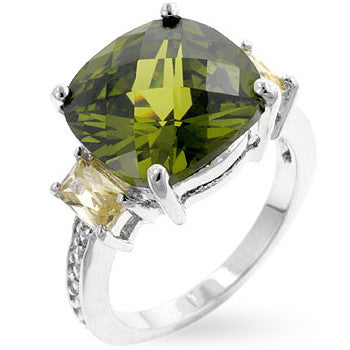 Olive & Yellow CZ Ring