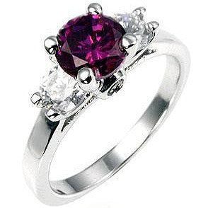 Amethyst Triplet White Gold Ring