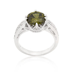 Peridot CZ Crown Ring