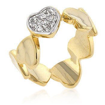 Pave Golden Hearts Ring