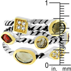 Jeweled Mix Cable Ring