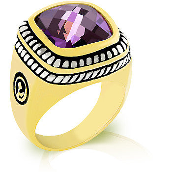 Faceted Amethyst Cable Ring
