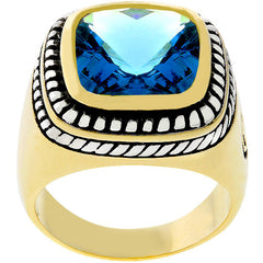 Faceted Blue Topaz Cable Ring