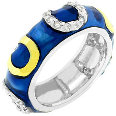 Dark Blue Enamel Horseshoe Ring