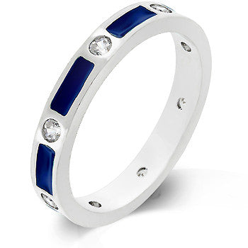 Blue Enamel Channel Ring
