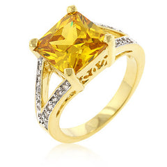 Accented Yellow CZ Ring