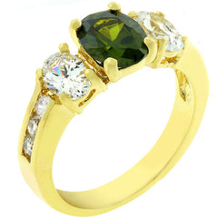 Olive CZ Triple Stone Ring