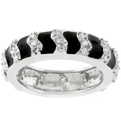 Jet Black Striped Enamel Eternity Ring