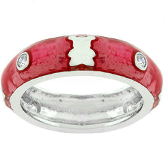 Pink Ice Teddy Bear Enamel Ring