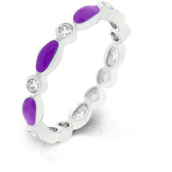 Purple Link Enamel Stacker Ring