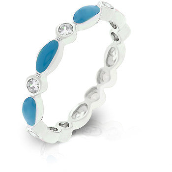 Blue Topaz Link Enamel Stacker Ring