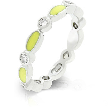 Yellow Link Enamel Stacker Ring
