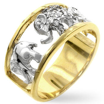 Pave Elephant 18K Gold Ring
