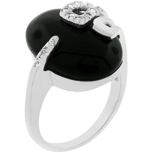 Onyx Egg - Large Onyx White Gold Ring