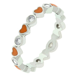 Orange Enamel Heartsl Eternity Band