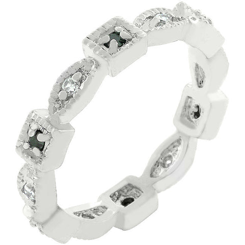 Eternity Band - Black CZ And White Gold Ring