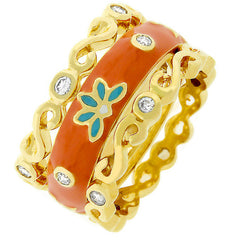 Flower Orange Enamel Triplet Ring