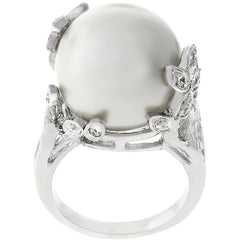 Branch Wrapped Shell Pearl Ring