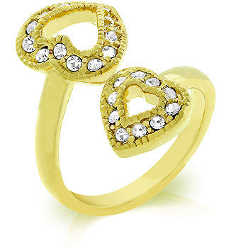 Dual Pave Hearts Gold Ring