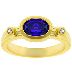 Matte Gold Amethyst Ring