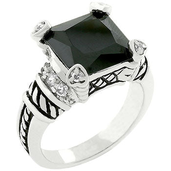 Black Eye Antique - Antique Design CZ Ring With Rope Design