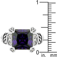Amethyst Eyes Antique White Gold Ring