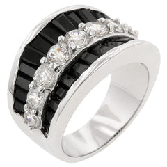 Itza - Black CZ Steps On Silvertone White Gold Ring