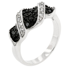 Swirl Ring - Black CZ Twist On White Gold Ring