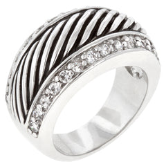 Zebra Cocktail - Striped CZ On White Gold Ring