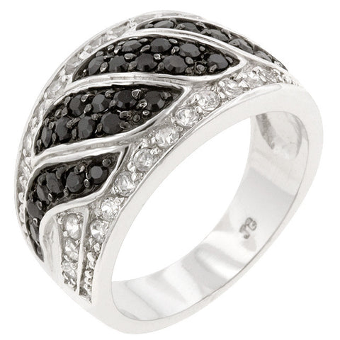 B&W Swirl - White Gold Rhodium Ring With Bi-Color Cubic Zirconia