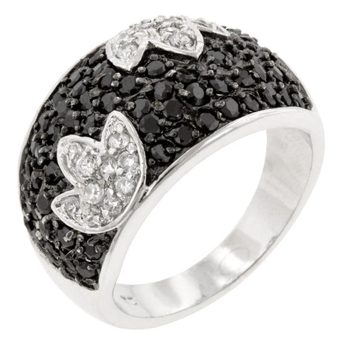 B&W Tulip - White Gold Ring With Cubic Zirconia in Tulip Design