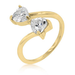 Golden Dual Hearts Anniversary Ring