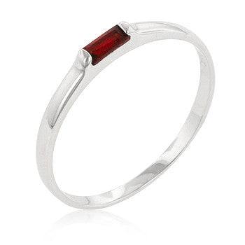 Red Petite Solitaire Ring