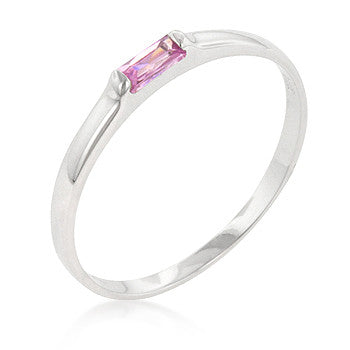 Pink Petite Solitaire Ring