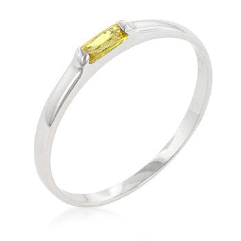 Yellow Petite Solitaire Ring