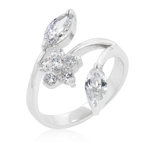 3-Stone Classic Clear Floral Inspired Ring