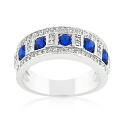 Blue and Clear Encrusted Silver Tone Ring