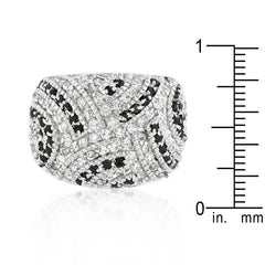 Black & White - White Gold Rhodium Ring With Dual Color Cubic Zirconia